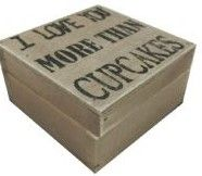 I LOVE YOU MORE THAN CUPCAKES SHABBY CHIC WOODEN GIFT BOX BROWN 9.5cm..